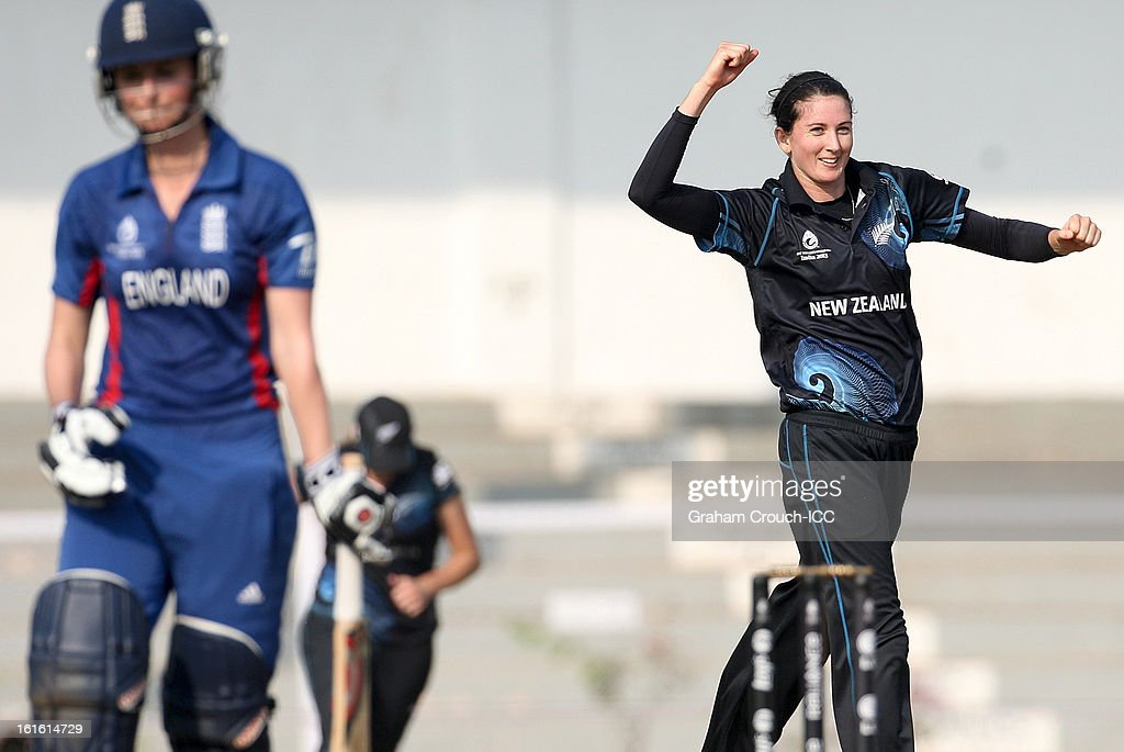 Nicola Browne of New Zealand celebrates after dismissing Charlotte Edwards of England during the Super Sixes ICC Women's World Cup India 2013 match between New Zealand and England at the Cricket Club of India ground on February 13, 2013 in Mumbai, India.