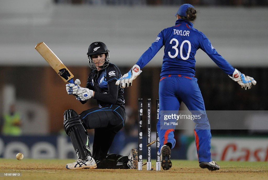 Nicola Browne of New Zealand gets bowled out by Holly Colvin of England during the Super Sixes match between England and New Zealand held at the Cricket Club of India on February 13, 2013 in Mumbai, India.