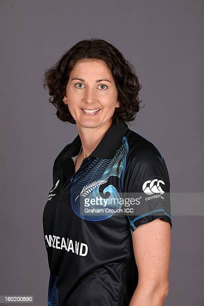 Nicola Browne of New Zealand poses at a portrait session ahead of the ICC Womens World Cup 2013 at the Taj Mahal Palace Hotel on January 27 2013 in...
