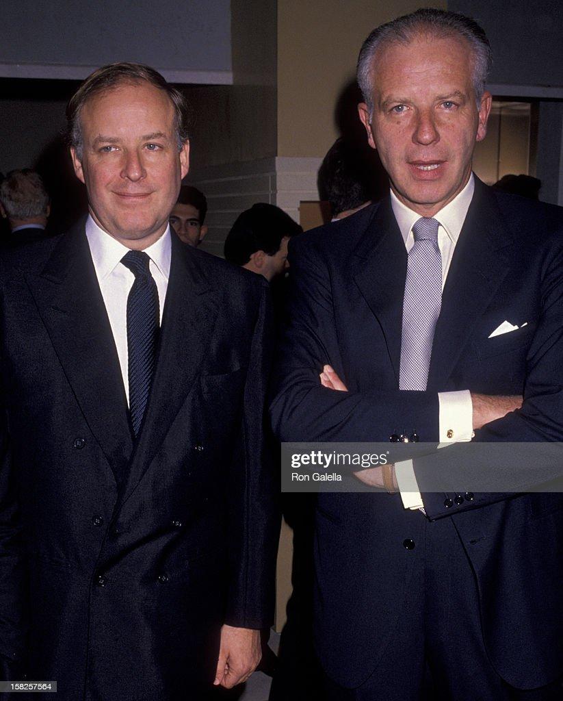 Nicola Bulgari and Paolo Bulgari attend the grand opening of Bulgari Salon on November 14 1989 in New York City