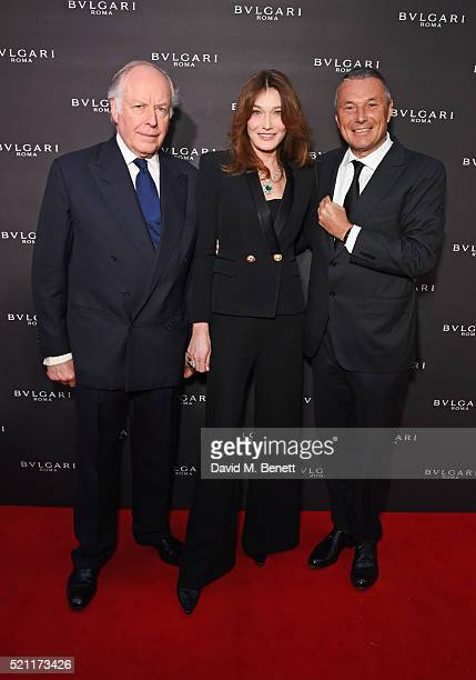 Nicola Bulgari Carla Bruni wearing Bulgari jewellery and Jean Christophe Babin Bulgari CEO arrive at the Bulgari flagship store reopening on New Bond...