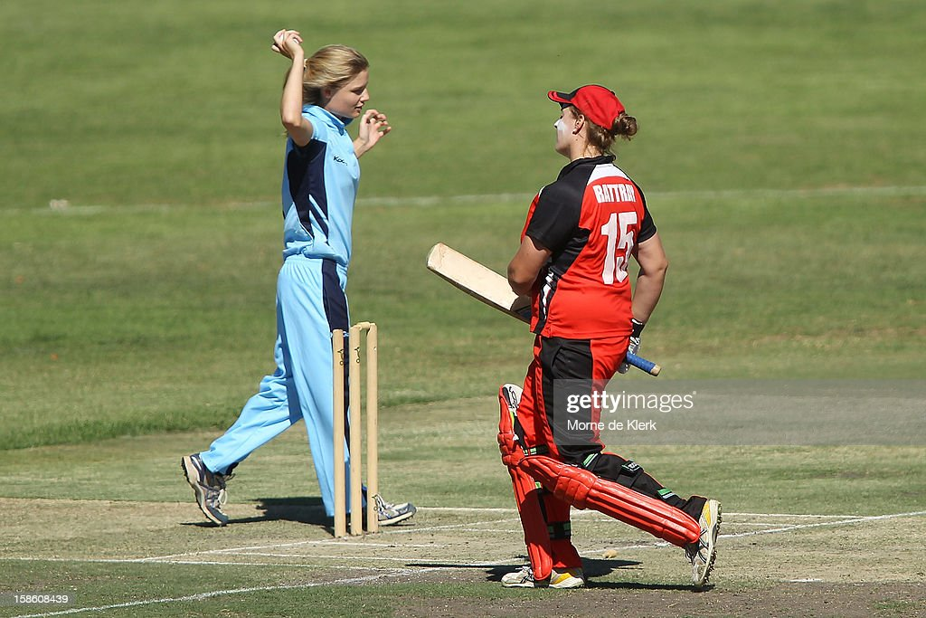 Nicola Carey of the Breakers removes the bails to run-out Kylie Rattray of the Scorpions during the women's Twenty20 match between the South Australia Scorpions and the New South Wales Breakers at Prospect Oval on December 21, 2012 in Adelaide, Australia.