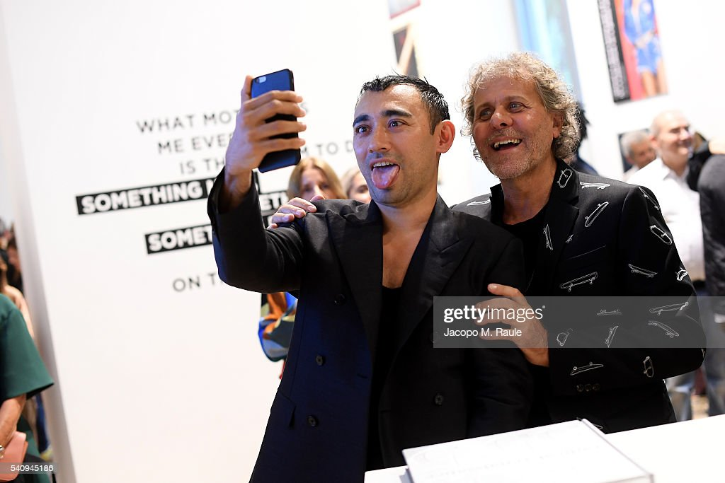 Nicola Formichetti and Renzo Rosso attend Renzo Rosso And OTB Launch 'Radical Renaissance 555' Book on June 17 2016 in Milan Italy