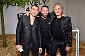 Nicola Formichetti Marcelo Burlon and Renzo Rosso attend Renzo Rosso And OTB Launch 'Radical Renaissance 555' Book on June 17 2016 in Milan Italy