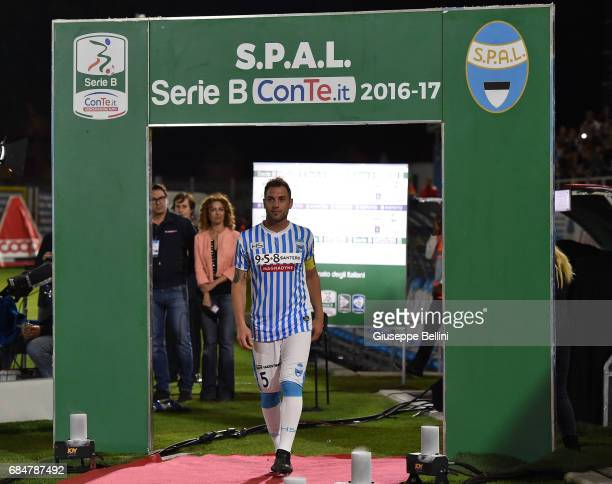 Nicola Giani of SPAL celebrates promotions in series A after the Serie B match between SPAL and FC Bari at Stadio Paolo Mazza on May 18 2017 in...