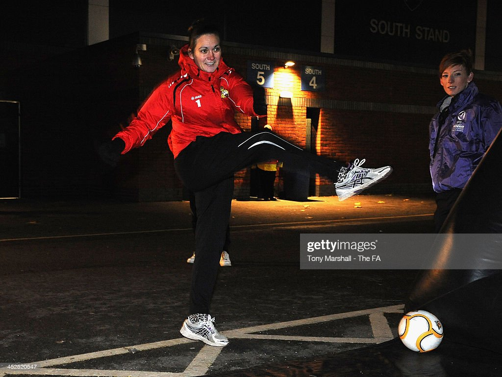 Nicola Hobbs of Doncaster Rovers Belles taking part in the Continental Speed Cage at the FA Girls Fanzone before the UEFA Womens U17 Championship Finals match between England and Austria at Chesterfield FC Stadium on November 29, 2013 in Chesterfield, England.