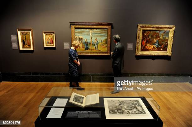 Nicola Kalinsky Director of the Barber Institute of Fine Art Birmingham and Nicholas Penny the Director of the National Gallery look at Christ on the...