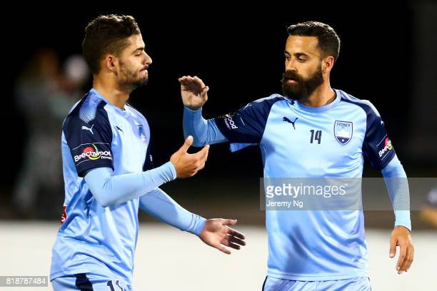 Nicola Kuleski and Alex Brosque of Sydney FC celebrate a goal during the 2017 Johnny Warren Challenge match between Sydney FC and Earlwood Wanderers...