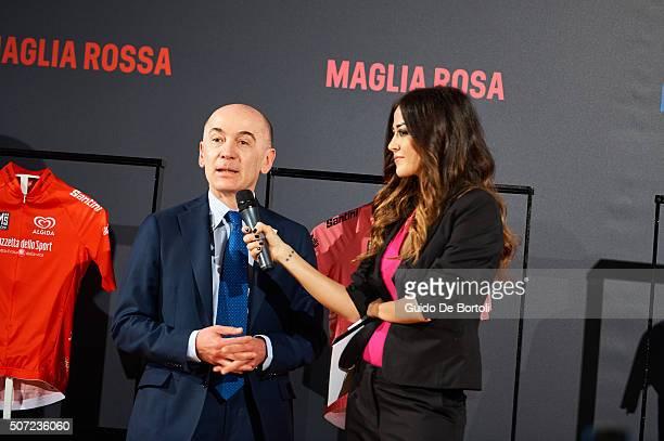 Nicola Lanzetta Senior Vice President Head of Italy Market of Enel and Giorgia Palmas attend the Giro D'Italia 2016 jersey unveiling on January 28...