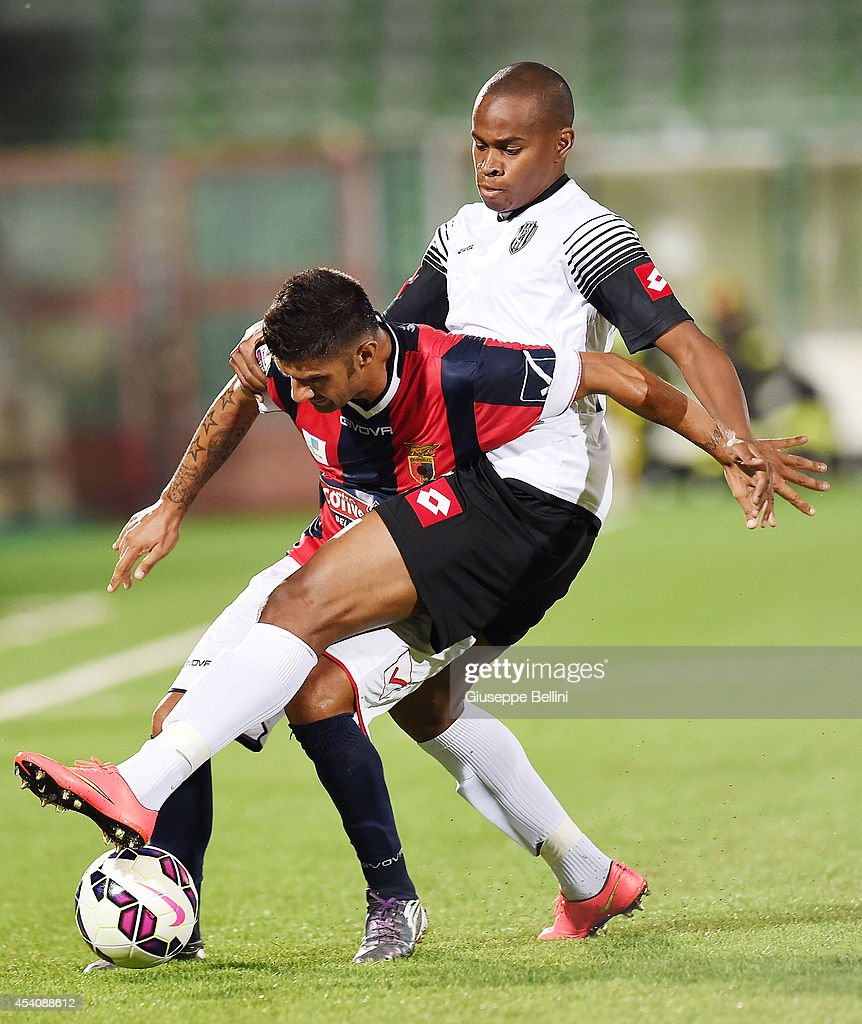 Nicola Mancino of Casertana and Zè Eduardo of Cesena in action during the TIM Cup match between AC Cesena and Casertana at Dino Manuzzi Stadium on August 24, 2014 in Cesena, Italy.