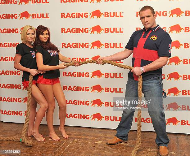 Nicola McLean Amy Childs and Phil Vickery launch Raging Bull Leisurewear at The Worx on December 13 2010 in London England
