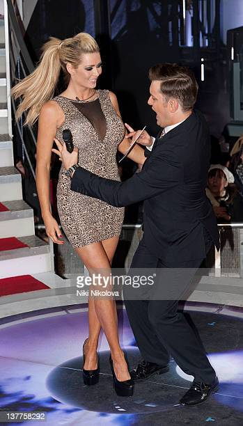 Nicola McLean and Brian Dowling at eviction night in the Celebrity Big Brother house at Elstree Studios on January 25 2012 in Borehamwood England