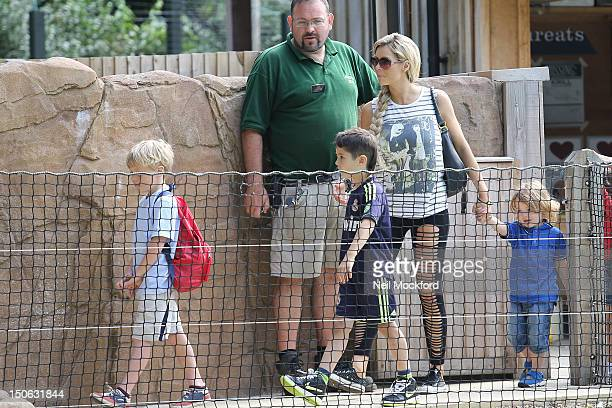 Nicola Mclean is sighted at ZSL London Zoo with her children Rocky and Striker and a friend on August 23 2012 in London England