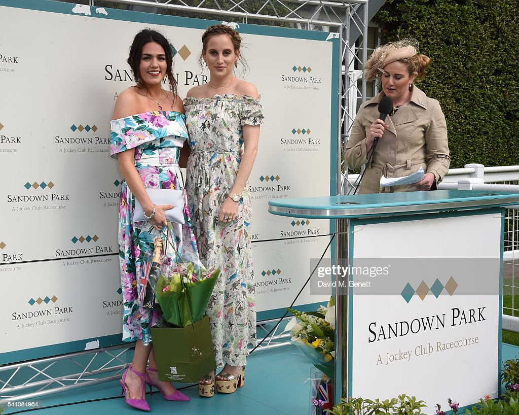 Nicola Mintern and Rosie Fortescue attend the Sandown Park Racecourse Ladies' Day STYLE AWARD Hosted by Rosie Fortescue at Sandown Park on July 1, 2016 in Esher, England.