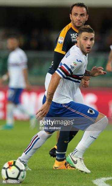 Nicola Murru of UC Sampdoria is challenged by Giampaolo Pazzini of Hellas Verona during the Serie A match between Hellas Verona FC and UC Sampdoria...