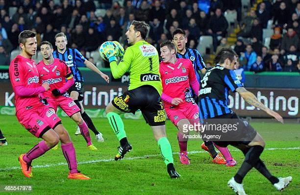 Nicola Penneteau goalkeeper of Charleroi during Jupiler Pro League Club Brugge and Charleroi match in Brussels Belgium on March 7 2015