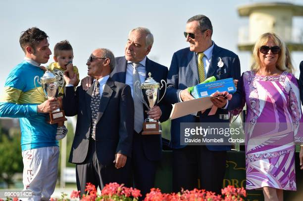 Nicola Pinna Giancarlo Dettori and Alduino Botti during the prize giving ceremony after the Oaks D'Italia run at the San Siro Racecourse on May 28...