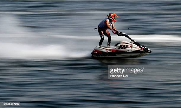 Nicola Piscaglia of Italy practice ahead of the Ski Division GP1 during the Aquabike Class Pro Circuit World Championships Grand Prix of Sharjah at...