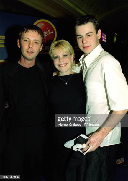 Nicola Reynolds Danny Dyer and John Simm arrive at the Virgin Cinema in Haymarket London for the premiere of the film 'Human Traffic' in which they...