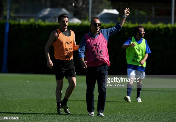 Nicola Rizzoli and Antonio Cabrini chat during a friendly match during the Italian Football Federation Kick Off Seminar on May 21 2017 in Florence...