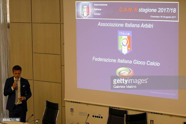 Nicola Rizzoli of AIA during a press conference at Coverciano on August 18 2017 in Florence Italy