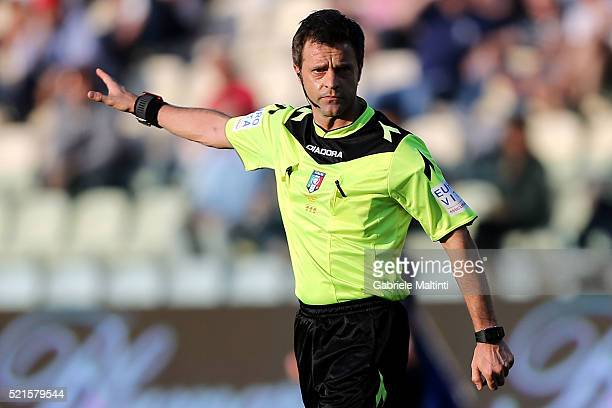 Nicola Rizzoli referee during the Serie A match between Carpi FC and Genoa CFC at Alberto Braglia Stadium on April 17 2016 in Modena Italy