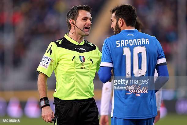 Nicola Rizzoli referee speaks with Riccardo Saponara of Empoli Fc during the Serie A match between Empoli FC and Cagliari Calcio at Stadio Carlo...