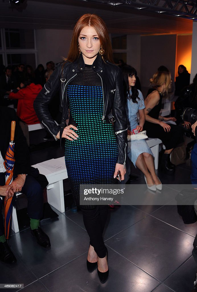 Nicola Roberts attends the Mark Fast show at London Fashion Week AW14 at Aldwych House on February 14 2014 in London England
