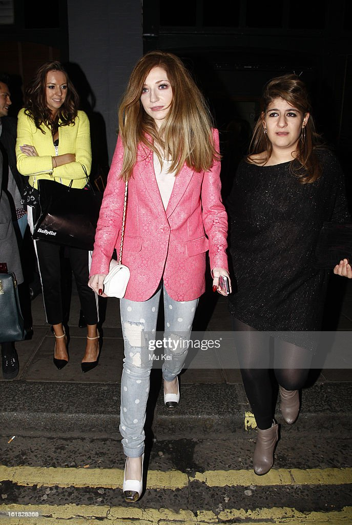 Nicola Roberts is pictured Leaving the house of holland after party during London Fashion Week on February 16, 2013 in London, England.