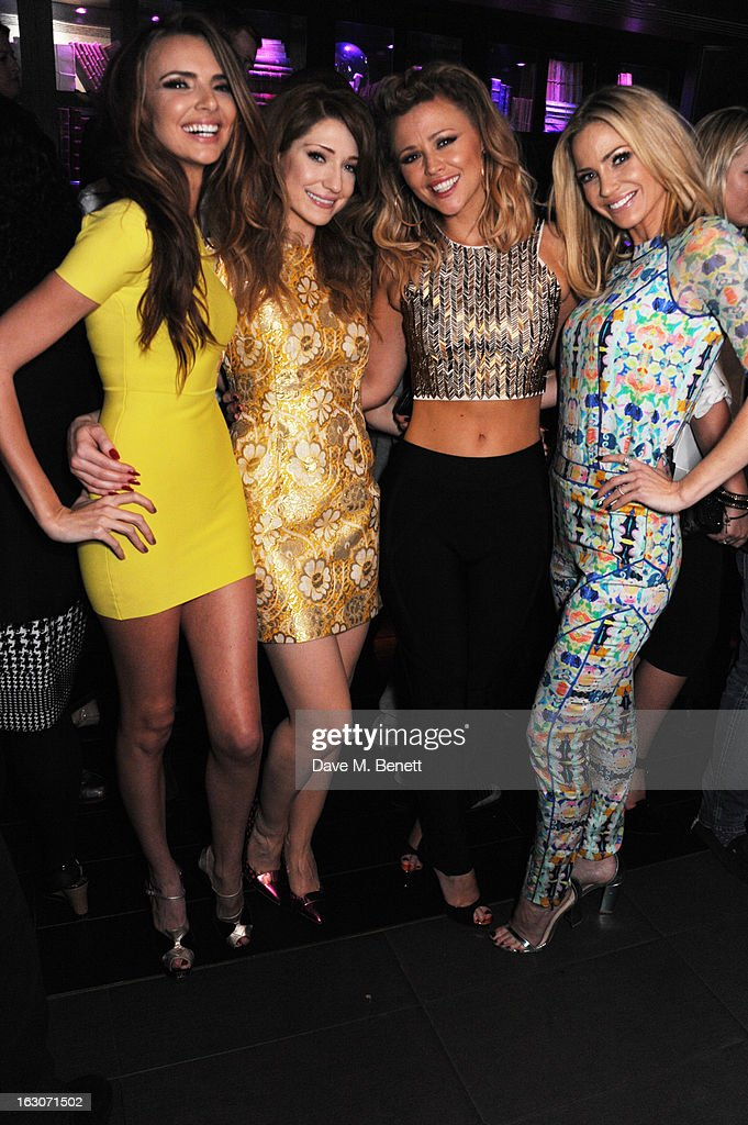 Nicola Roberts, Nadine Coyle, Kimberley Walsh and Sarah Harding of Girls Aloud attend their London Ten - The Hits Tour after party at Whisky Mist Club on March 02, 2013 in London, England.