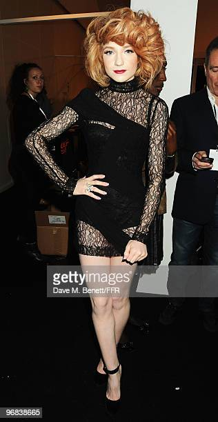 Nicola Roberts poses backstage during Naomi Campbell's Fashion For Relief Haiti London 2010 Fashion Show at Somerset House on February 18 2010 in...