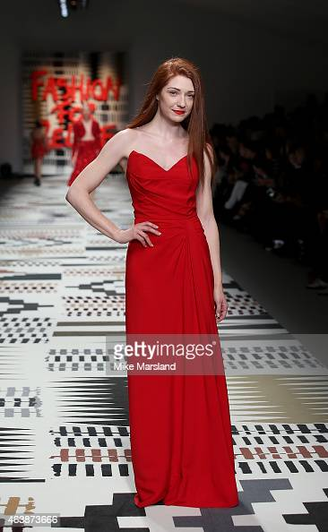 Nicola Roberts walks the runway at the Fashion For Relief charity fashion show to kick off London Fashion Week Fall/Winter 2015/16 at Somerset House...