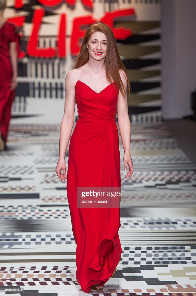 <a gi-track='captionPersonalityLinkClicked' href=/galleries/search?phrase=Nicola+Roberts&family=editorial&specificpeople=203306 ng-click='$event.stopPropagation()'>Nicola Roberts</a> walks the runway at the Fashion For Relief charity fashion show to kick off London Fashion Week Fall/Winter 2015/16 at Somerset House on February 19, 2015 in London, England. The Fashion For Relief show is in support of Ebola, raising funds and awareness for Disaster Emergency Committee: Ebola Crisis Appeal and the Ebola Survival Fund.
