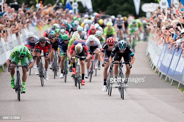 Nicola Ruffoni Danny Van Poppel and Christopher Latham cross the finish line during stage three of the 2016 Tour of Britain from Congleton to Tatton...