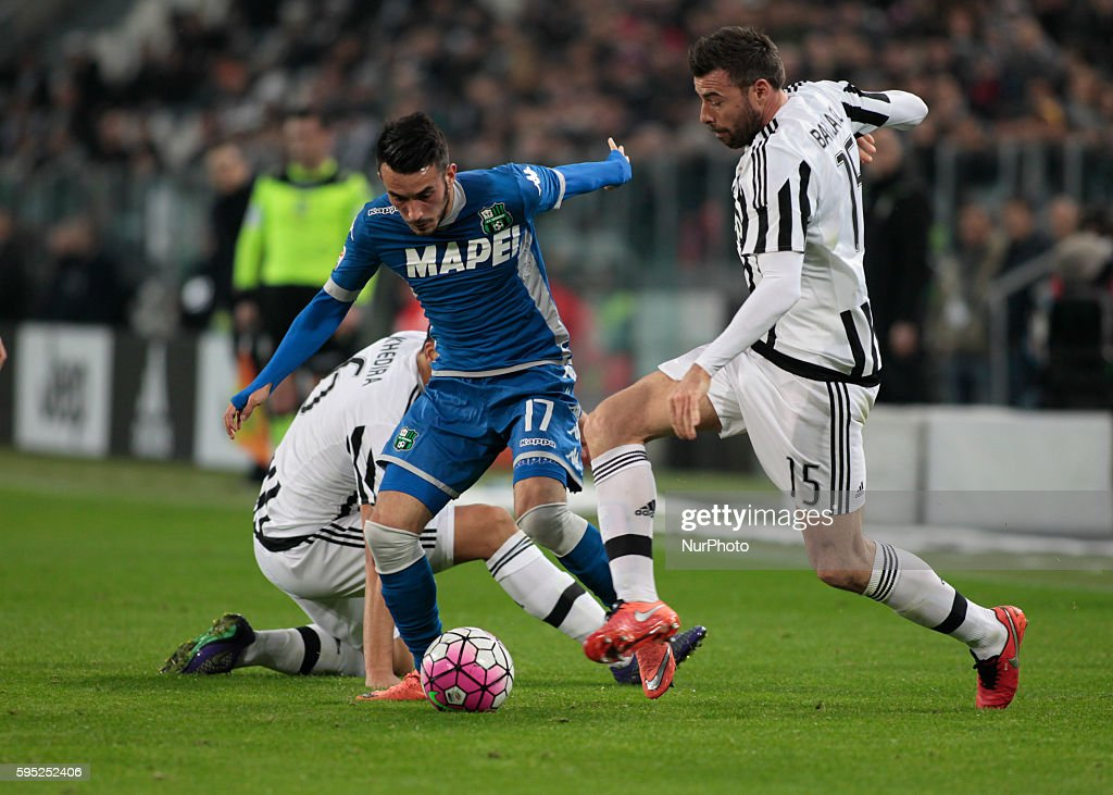 Nicola Sansone and Andrea Barzagli during the serie A match between Juventus FC and US Sassuolo Calcio at the Juventus Stadium of Turin on march 11...
