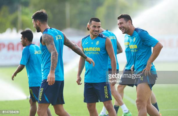 Nicola Sansone and Daniele Bonera during the first week of Villarreal CF training session at Ciudad Deportiva of Miralcamp July 14 in Vilareal Spain
