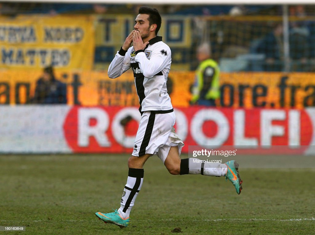 Nicola Sansone of Parma FC celebrates his goal during the Serie A match between Parma FC and SSC Napoli at Stadio Ennio Tardini on January 27 2013 in...