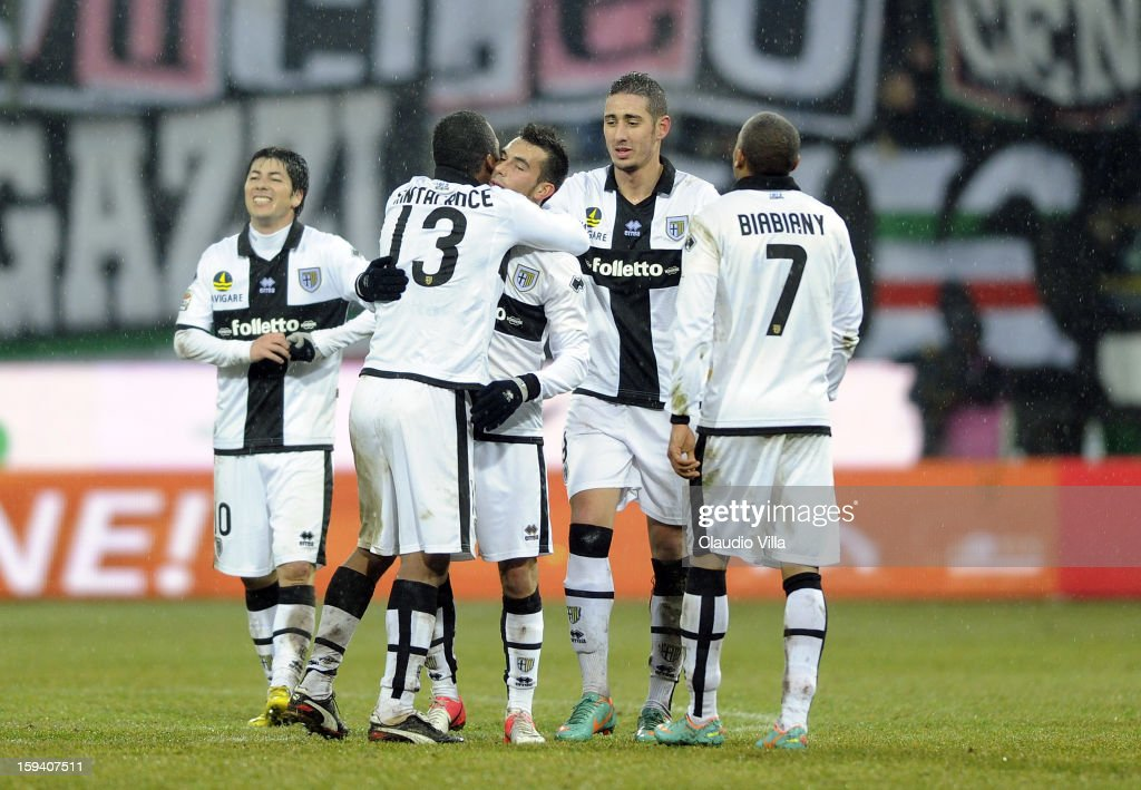 Nicola Sansone of Parma FC celebrates victory at the end the Serie A match between Parma FC and Juventus FC at Stadio Ennio Tardini on January 13...