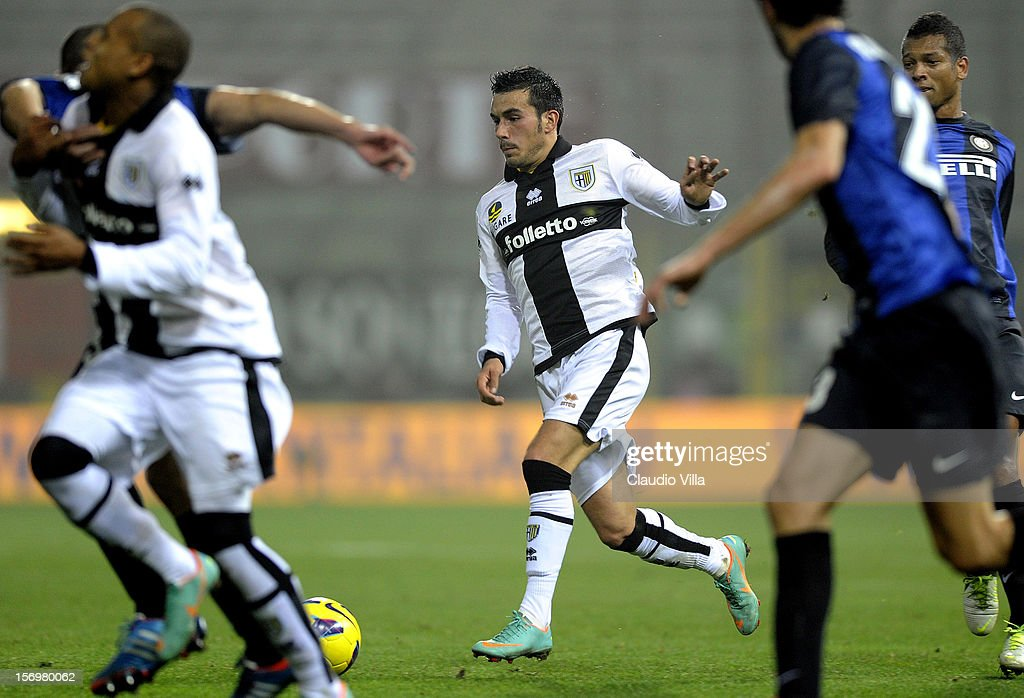Nicola Sansone of Parma FC during the Serie A match between Parma FC and FC Internazionale Milano at Stadio Ennio Tardini on November 26, 2012 in Parma, Italy.