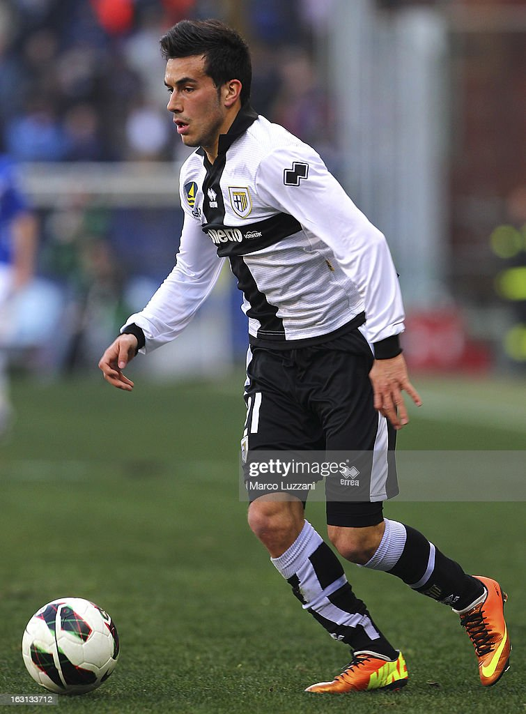 Nicola Sansone of Parma FC in action during the Serie A match between UC Sampdoria and Parma FC at Stadio Luigi Ferraris on March 3, 2013 in Genoa, Italy.