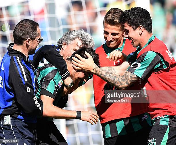 Nicola Sansone of Sassuolo celebrates after scoring their third goal during the Serie A match between US Sassuolo Calcio and Genoa CFC at Mapei...