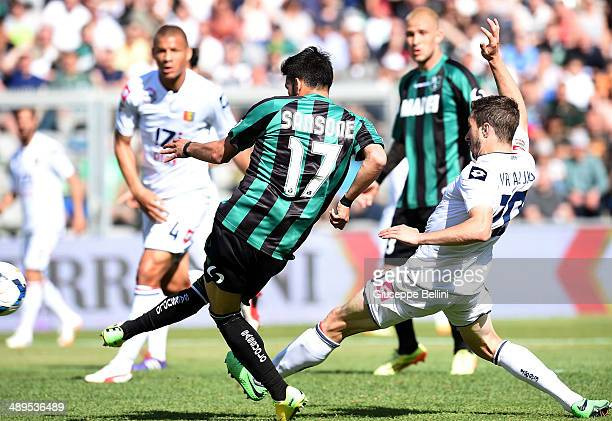 Nicola Sansone of Sassuolo scores their third goal during the Serie A match between US Sassuolo Calcio and Genoa CFC at Mapei Stadium on May 11 2014...