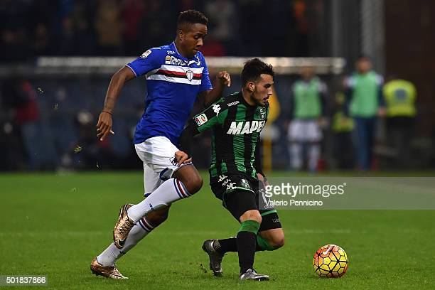 Nicola Sansone of US Sassuolo Calcio is challenged by Carlos Mario Carbonero of UC Sampdoria during the Serie A match between UC Sampdoria and US...