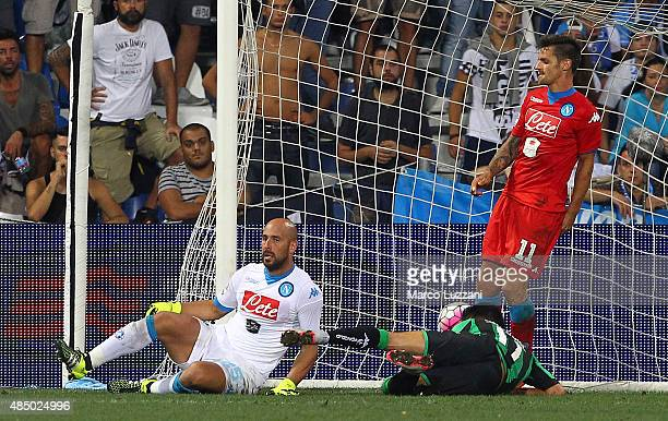 Nicola Sansone of US Sassuolo Calcio scores his goal during the Serie A match between US Sassuolo Calcio and SSC Napoli at Mapei Stadium Città del...