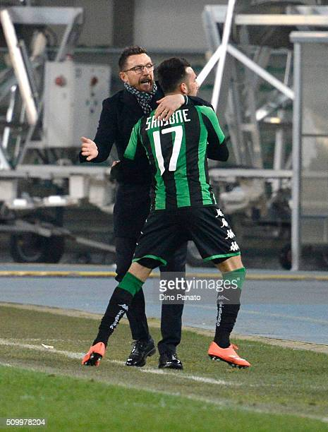 Nicola Sansone of US Sassuolo celebrate with Head coach of US Sassuolo Eusebio Di Francesco after scoring his team's first goal during the Serie A...