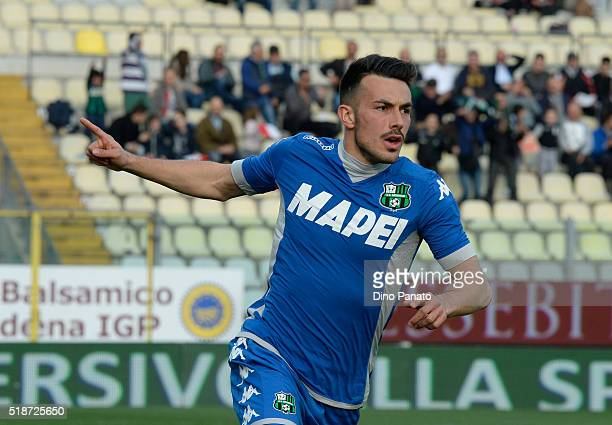 Nicola Sansone of US Sassuolo celebrates after scoring his opening goal during the Serie A match between Carpi FC and US Sassuolo Calcio at Alberto...