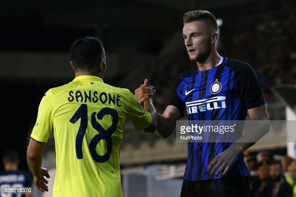 Nicola Sansone of Villareal CF and Milan Skriniar of FC Internazionale during the PreSeason 2017/2018 International Friendly FC Internazionale v...