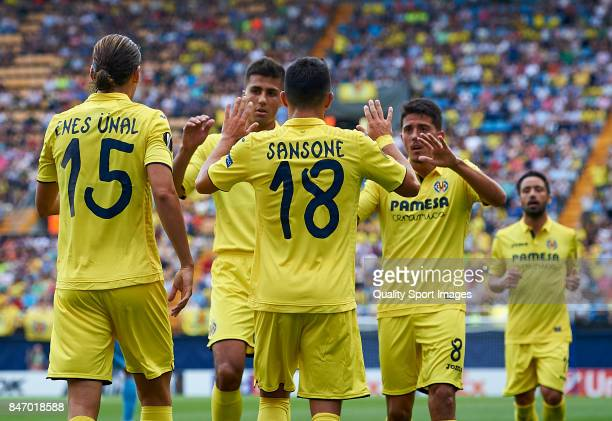 Nicola Sansone of Villarreal celebrates with his team mates after scoring a goal during the UEFA Europa League group A match between Villarreal CF...