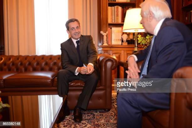 MANSION ATHENS ATTIKI GREECE Nicola Sarkozy former President of French Republic and Prokopis Pavlopoulos President of Hellenic Republic during their...