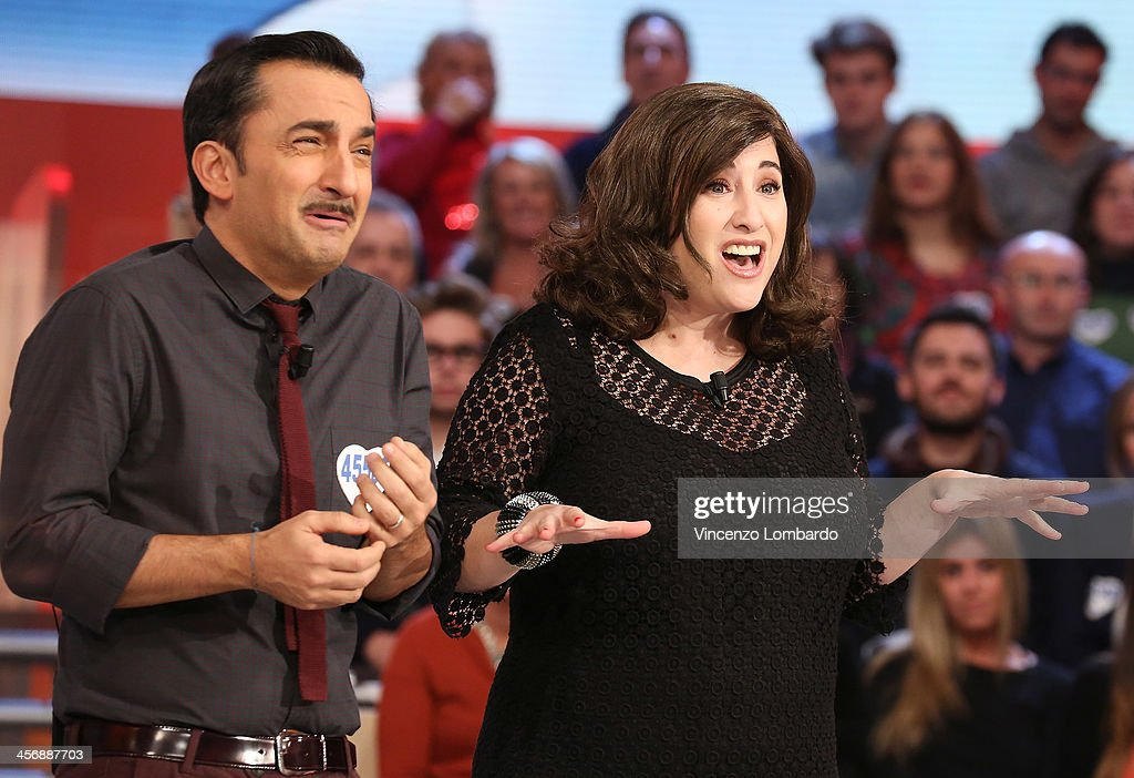Nicola Savino and Maria Di Biase (R) attend 'Quelli Che Il Calcio' Italian TV Show on December 15, 2013 in Milan, Italy.